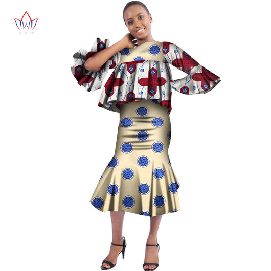 Plus Size 2018 New Traditional African Skirt Set for Women Dashiki Made in China African Clothes Elegant Party Dress WY2994