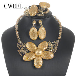 CWEEL Jewerly Sets For Women Nigerian Wedding African Beads Jewelry Set Gold Cold Trendy Ethiopian Bridal Jewelry Sets