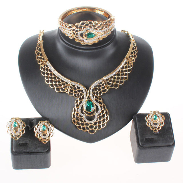 Fashion Women Gold Color Red Green Gem Crystal Pendant Wedding Party Necklace Bangle Earring Jewelry Set