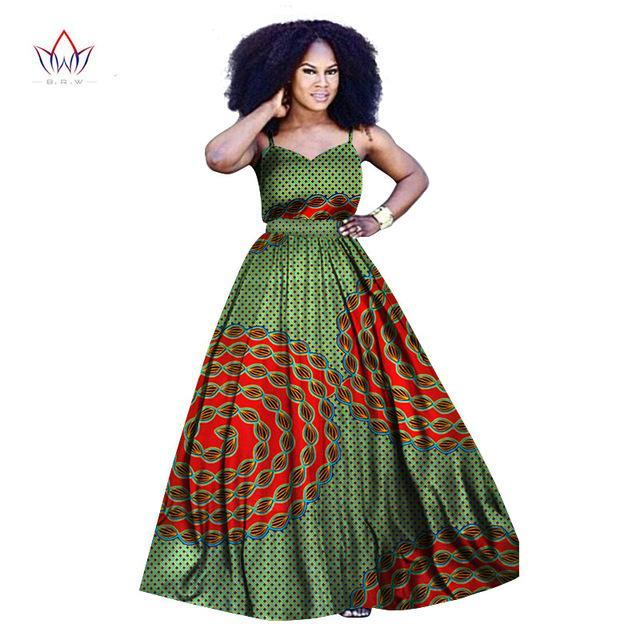 2017 African Bazin riche Dress for Women Cotton 100%  Africa Traditional Woman Spaghetti Clothing Plus Size BRW WY878