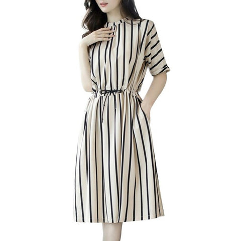 d089cc1273bae ... Image of New Arrival Vertical Striped Half Sleeve Summer Slim Dress A- Line Stripes 3XL ...