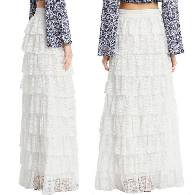 e5ab51a5795d Hover to zoom. PrevNext. Image of Fashion Women High Waist Double Lace  Layer Pleated Skirt Elastic ...