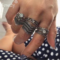 12PCS/Set Crystal Boho Vintage Flower Knuckle Midi Ring Sets For Women Rings Bohemian Stone Anillos Fashion Statement Jewelry