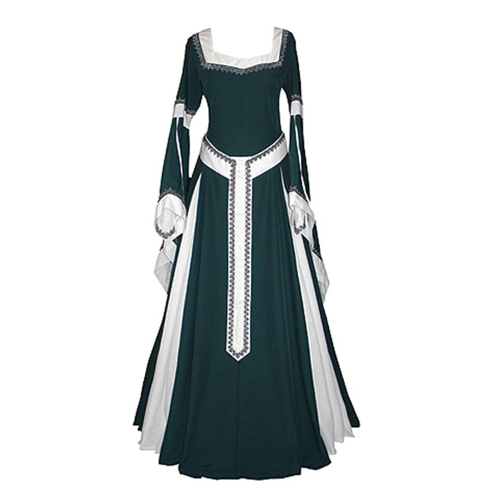 2018 newest Adult Women Medieval Costume Long Gown Dress Victorian Blue Bell  Sleeve Square Collar Back 3a312477d9c7