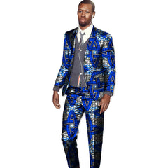 New arrivals men's African suits Ankara fashion print dashiki suits man blazer with pant 2 pieces for wedding africa clothing