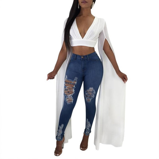 96dd8d8607e Sexy Club Crop Top Summer Deep V Neck Long Sleeve Shirt Top Blouses Female  Short Tops. Hover to zoom