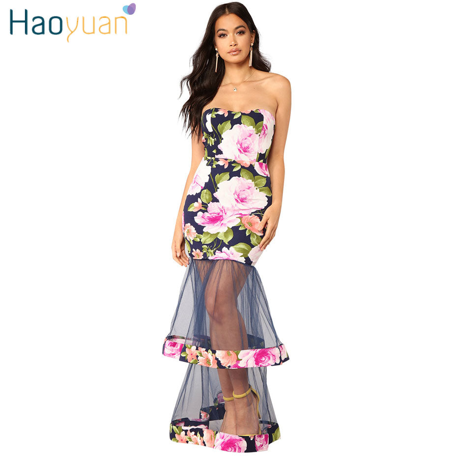 28fa1eeab35d HAOYUAN Off Shoulder Flower Mesh Long Maxi Dress 2018 New Summer Backless  Robe Sexy Bodycon Dress ...