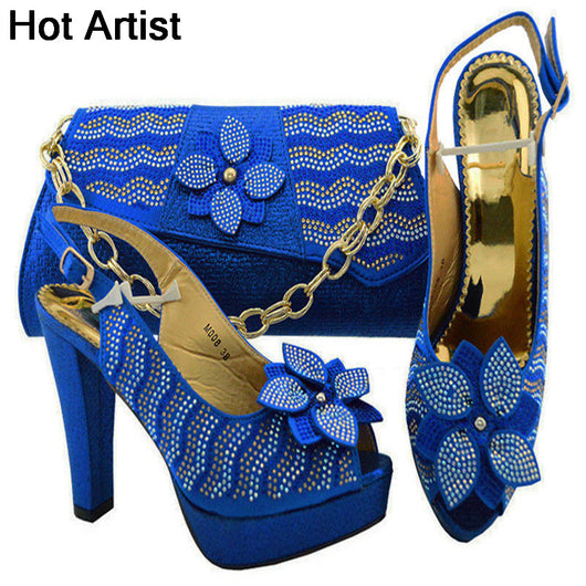 Hot Artist New Arrival Nigerian Woman Shoes And Bag Sets Italian
