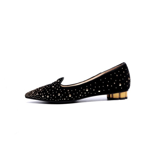 ... Original Intention Super Beautiful Women Flats Nice Suede Rivets Pointed  Toe Flat Shoes Black Green Shoes 549709557e3a