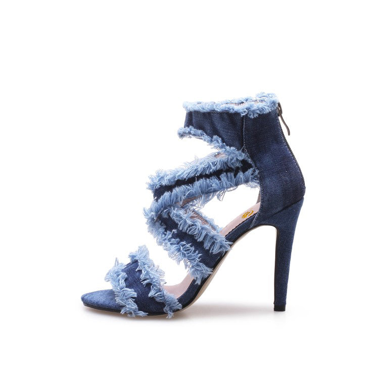 ... Original Intention New Fashion Women Sandals Denim Peep Toe Thin High  Heels Sandals Ladies Blue Shoes ... 2a1e4b962310