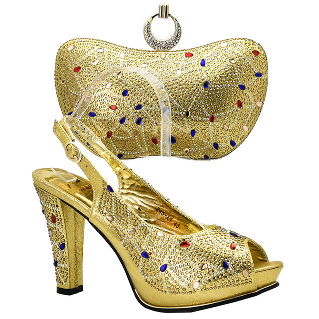 ... Gold Color Italian Ladies Shoes and Bags To Match Set Decorated with Rhinestone  African Wedding Shoe ... 8cbd6e1de243