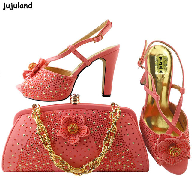 ... Coral Color Italy Shoes and Bag Set Decorated with Appliques Ladies  Matching Shoes and Bag Set 20f59a48a4a4