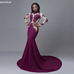 0bec4073e4 Long Evening Dress 2018 Mermaid Style Long Sleeve Backless African Women  Purple Formal Evening Gowns ...