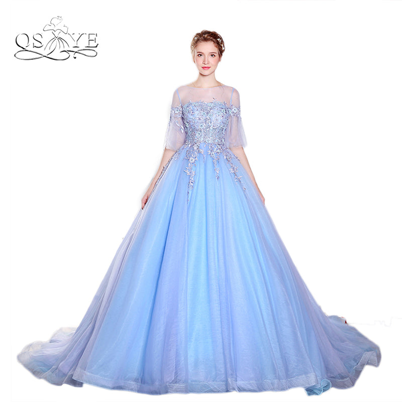 d93c3b9a5cb1a New Puffy Ball Gown Tulle Prom Dresses 2018 Vestido de Fiesta Sheer O-Neck  Half Sleeves Lace Formal Evening Dress Custom Made