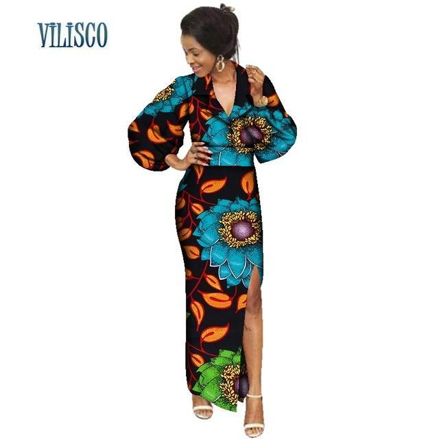 100% Cotton African Wax Print Dresses for Women Vestidos Sexy Turn-down Collar Long Dresses Bazin Riche African Clothing WY3083