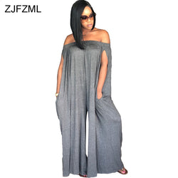ZJFZML Off The Shoulder Sexy Loose Jumpsuit Women Slash Neck Sleeveless Casual Romper Beach Style Backless Full Length Overall