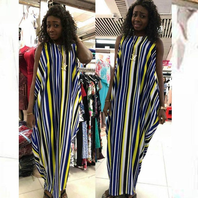 77dc1f83f9e1 ... H D 2018 spring summer stripe colorful maxi dress african print dresses  casual south africa clothes women