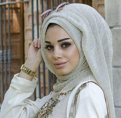 wrinkled shiny scarf drape Shawl soft stretchy pleated metallic shimmer hijab 170*70cm wrap scarf
