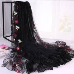 maxi hijab silk chiffon small flower fancy headscarf shawl fashion style 180*120cm free ship