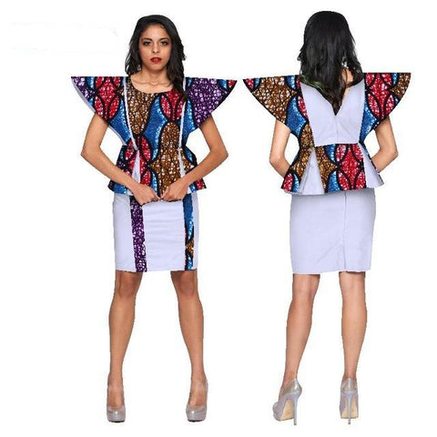 African Women Top and Skirt Sets Clothing Dashiki African Wax Print 2 Pieces Skirt Sets