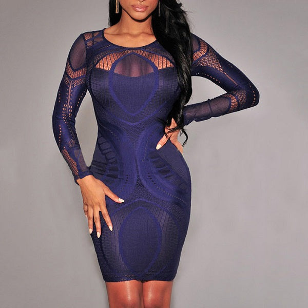 24722f7ff2 Women Sexy Splicing Mesh Long Sleeve Bodycon Dress. Hover to zoom