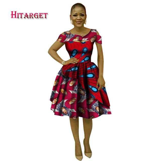 ... Hitarget 2018 Summer Bazin African Dresses for Women Dashiki African  Wax Print Sexy V-Neck ... ea3e9f2c8e7e