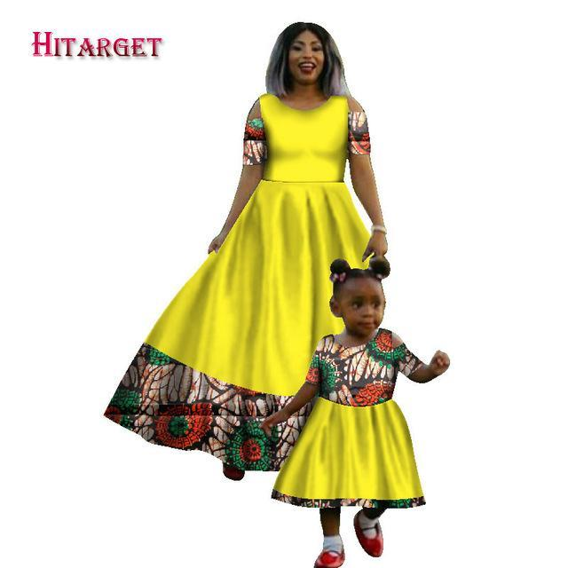 2017 New Fashion Matching African Women&Girl's Long Dresses 2 Pieces Brand Africa Traditional clothing 100% Cotton  WY1510