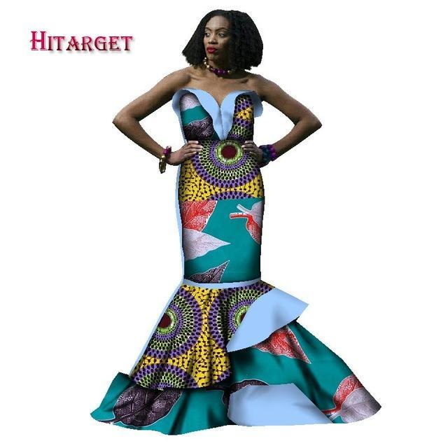 2017 african dresses for women bazin riche style femme african clothes graceful lady print wax plus size party long dress WY1782