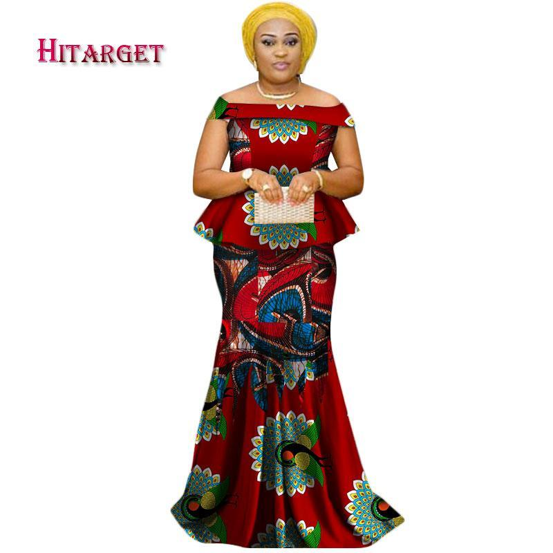 2017 African Kanga Clothing 2 Piece Set Women Long Slash Neck Tops & Long Skirt Sets African Mermaid Maxi Clothing 6XL WY2331