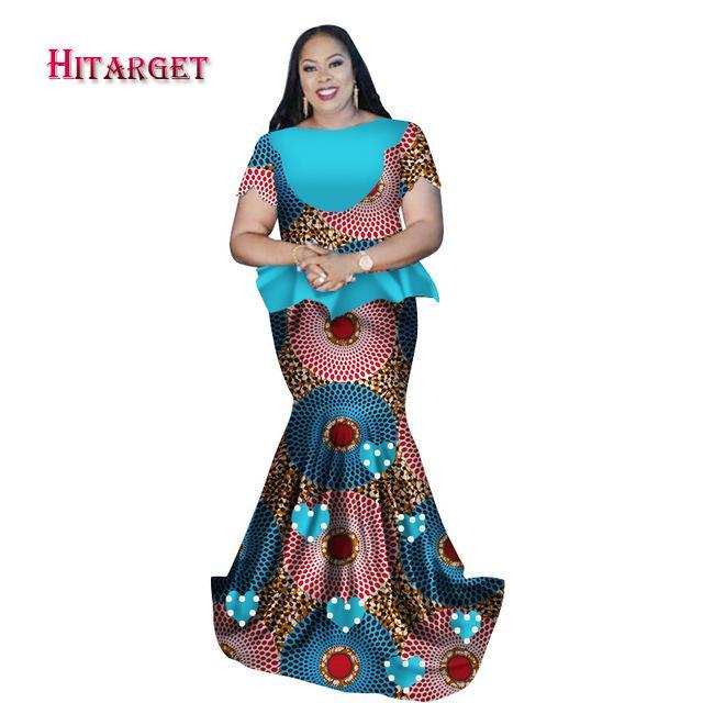 2017 african traditional clothing print Bazin Riche plus size top+skirt+head tie 3 Pieces African Traditional clothing WY2371