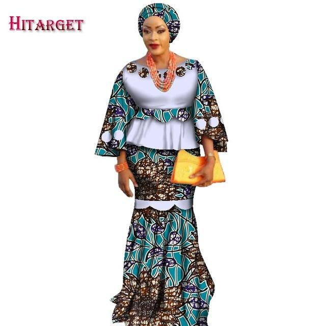 2017 African Kanga Clothing 2 Piece Set Women Loose Crop Top & Long Skirt Sets with Headtie African Mermaid Maxi Clothing WY2377