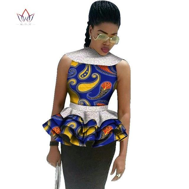 2017 BintaRealWax Fashion African Printed Shirt with Lace Female Summer Casual Tops African Ankara Batik Women Clothing WY1816