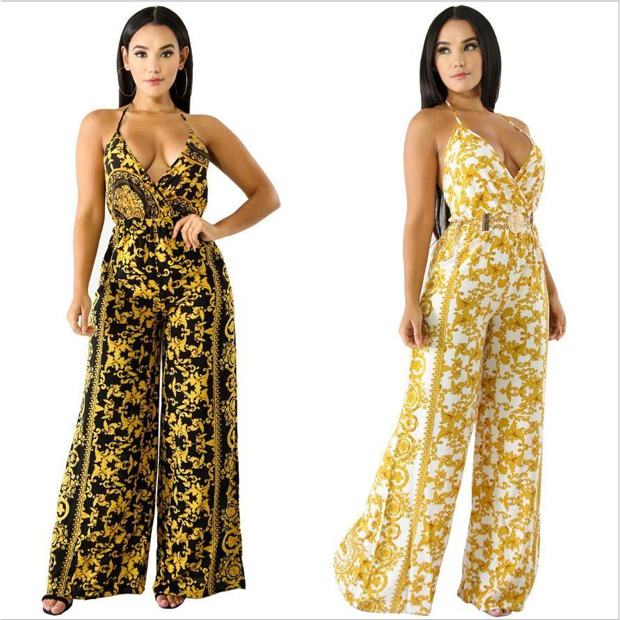 2017 african clothing women jumpsuit sleeveless halter ankle-length wide leg casual  jumpsuit for women