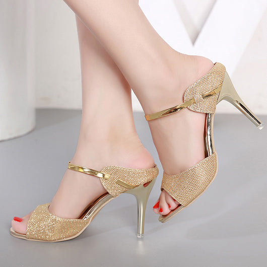 Lakeshi Peep Toe Shoes Women Pumps Bride Wedding Shoes Gold Silver