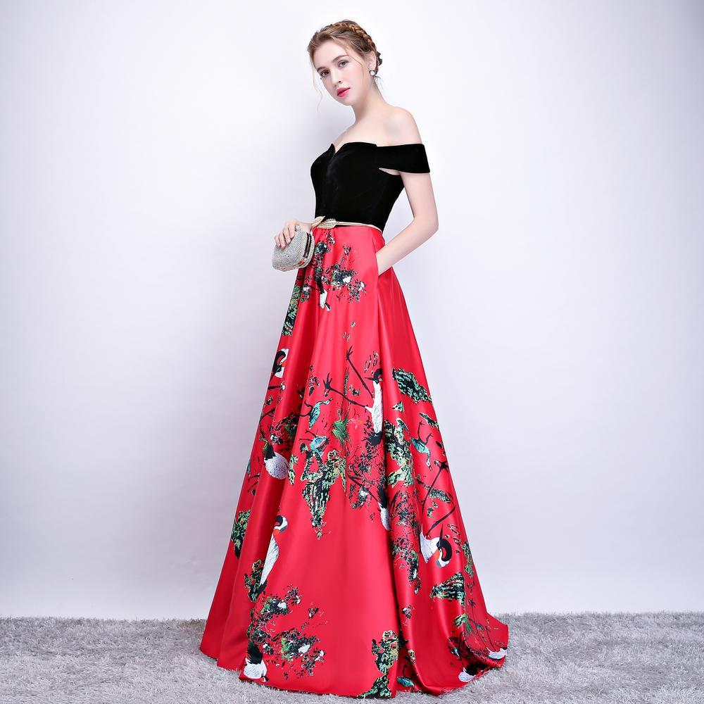 2018 New Flower Pattern Evening Dress Long Vintage Prom Party
