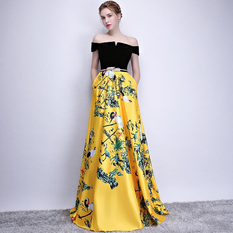 2018 New Flower Pattern Evening Dress Long Vintage Prom Party ...