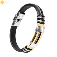 CSJA Masculine Men Stainless Steel Wristband Silicone Bracelets Gold Color Carved Casual Jewelry Bangles Pulsera Hombre P041