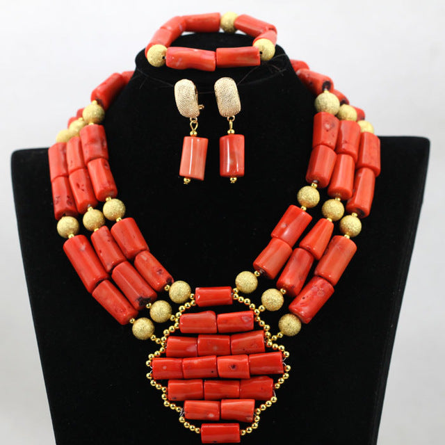 Gold Balls Jewelry Accessories African Nigerian Coral Jewelry Set 3 Rolls  Indian Bridal Inspiration Beads Free Shipping CNR649