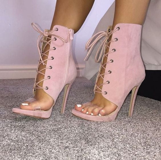7304edaca1f Sexy Peep Toe Lace-up High Heel Sandals Pink Suede Cut-out Gladiator  Sandals Boots For Women Thin Heel Dress Shoes Free Shipping