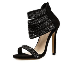 5c8d952bf6b ... TINGHON Women Back Zipper Shoes Elegant Crystal Embellished High Heel  Sandals Cut-out Peep Toe