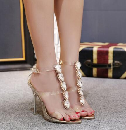 d8bd08a3933f TINGHON Summer Sexy High Heels Luxury Rhinestone PVC Transparent Pumps  Women Sandals fashion Buckle Crystal with Woman Shoes