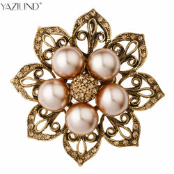 YAZILIND Jewelry Vintage Style Double Imitation Pearl Flower Brooch Elegant Black Rhinestones Brooches and Pins for Women