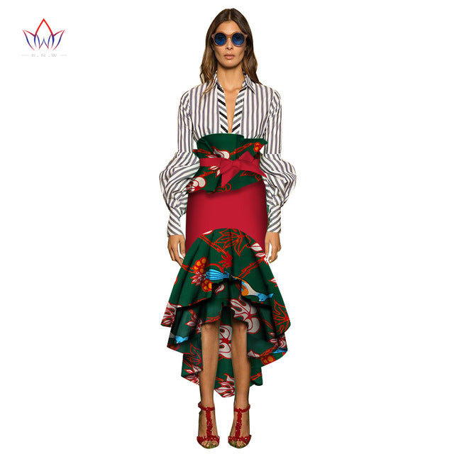 8a3fc6590b Hover to zoom · BRW Ladies Skirts Africa Style Mermaid Skirt Floral Long  Skirts Summer Dashiki African Print Plus Size