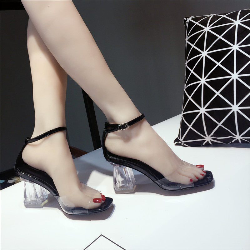 0bb48130b2a Moxxy 2018 PVC Jelly Sandals Women Pumps Open Toe High Heels Ankle Strap  Women Transparent Perspex Square Heel Clear Sandalias