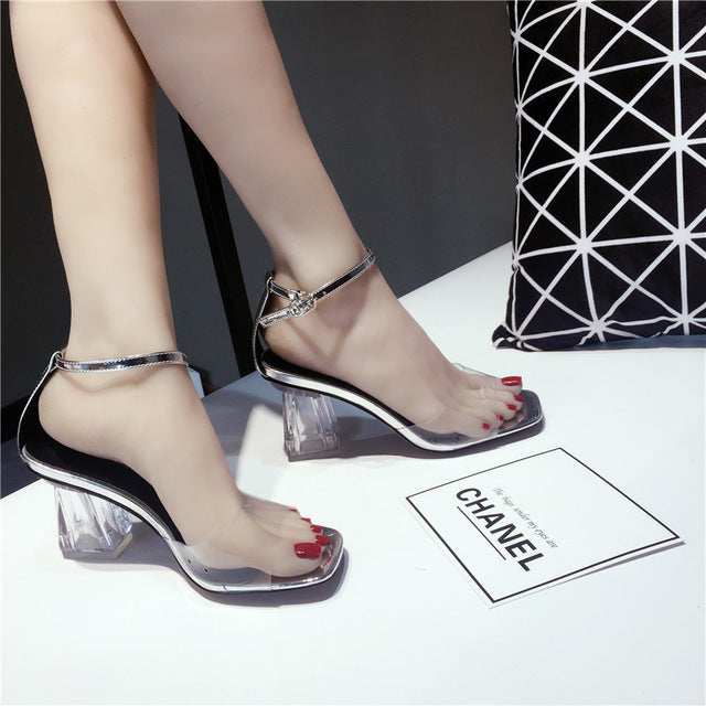cf795712aaf Moxxy 2018 PVC Jelly Sandals Women Pumps Open Toe High Heels Ankle Strap Women  Transparent Perspex. Hover to zoom