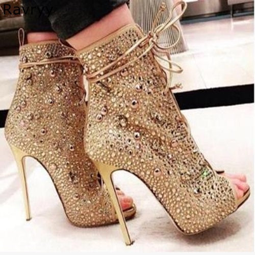 7960917787bf Summer fashion Woman Champagne sandals bling bling crystal decor short  sandal boots lace up Sexy Pumpsfemale ...