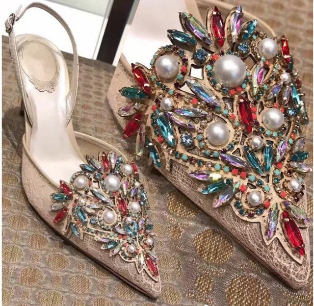 f8782f98b80c Hover to zoom · Wedding Shoes woman high heel red crystal white pearl decor  sexy ...