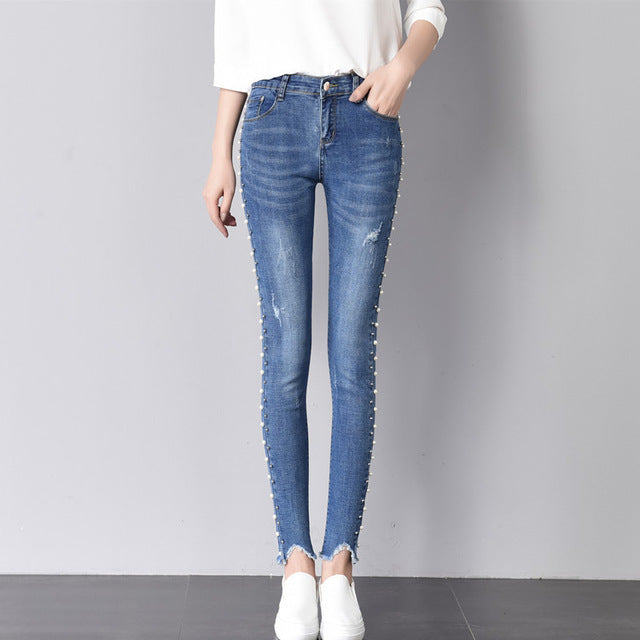 f51ba536fe8 ... LXMSTH Skinny Jeans Stretch Beading Women Hole Pencil jeans Fashion 2018  Spring Summer New Casual Ankle