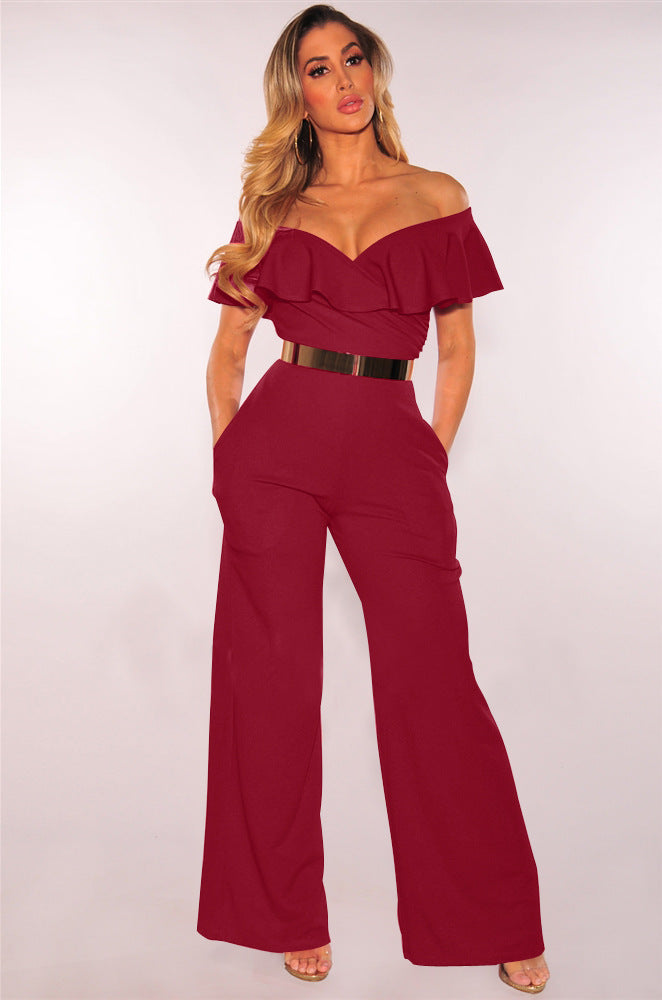 f84c61878c2 Women One-Piece Flare Pants Casual Jumpsuit Rompers Solid Sexy Off Shoulder  Slash Neck Short