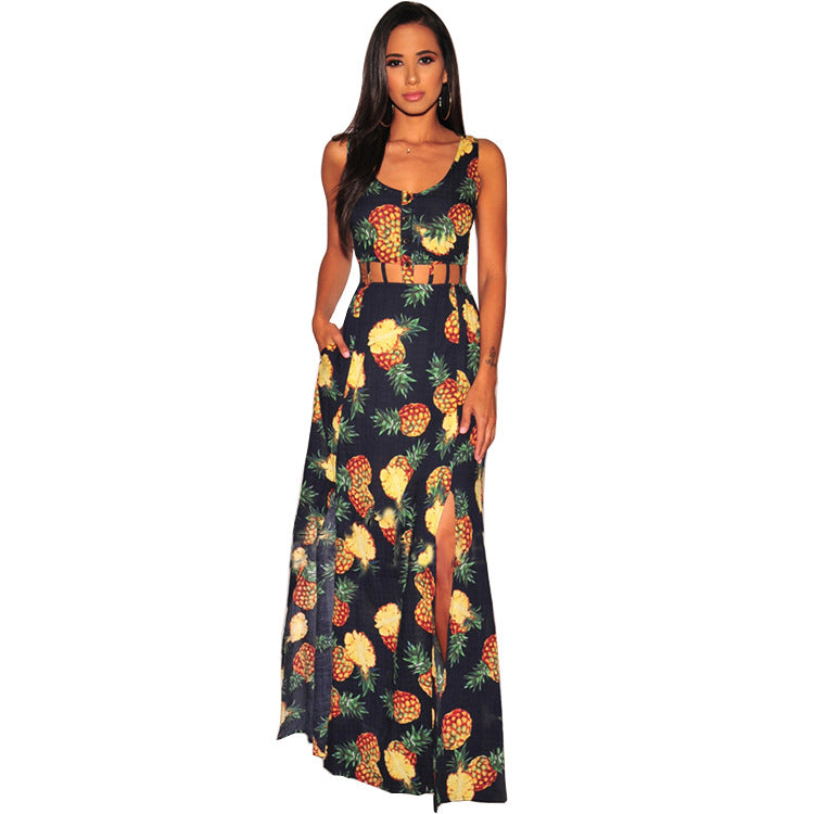 a0a1568095 Summer Backless Sexy Maxi Dress Women Sleeveless Empire Hollow Fit And  Flare Vestido Pineapple Print Side